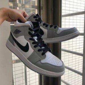 Nike Air Jordan 1 mid light smoky gray women's shoes new